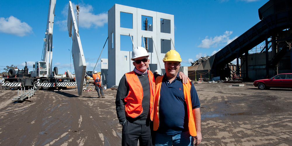 Peter Longmuir on site with  foreman Mike Bukouski